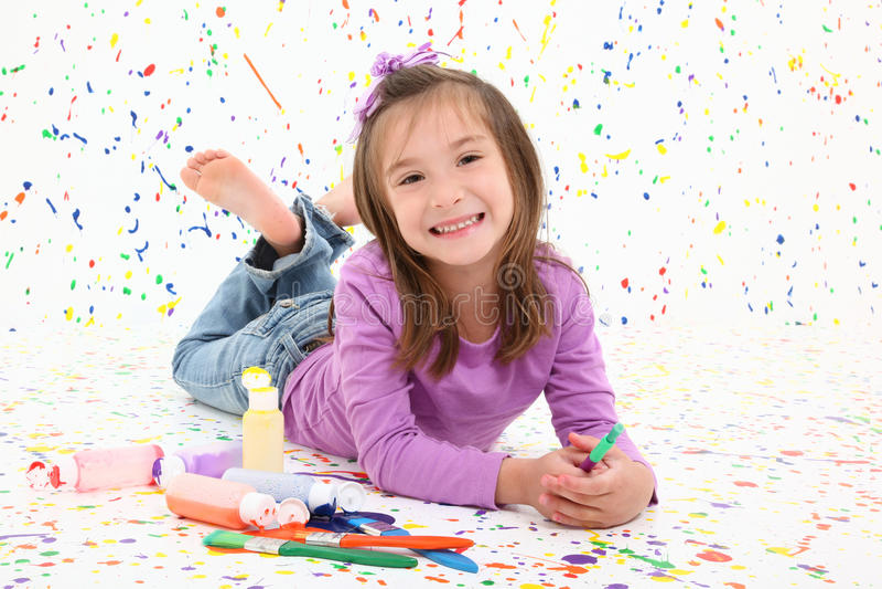 Criança com pintura fotos de stock