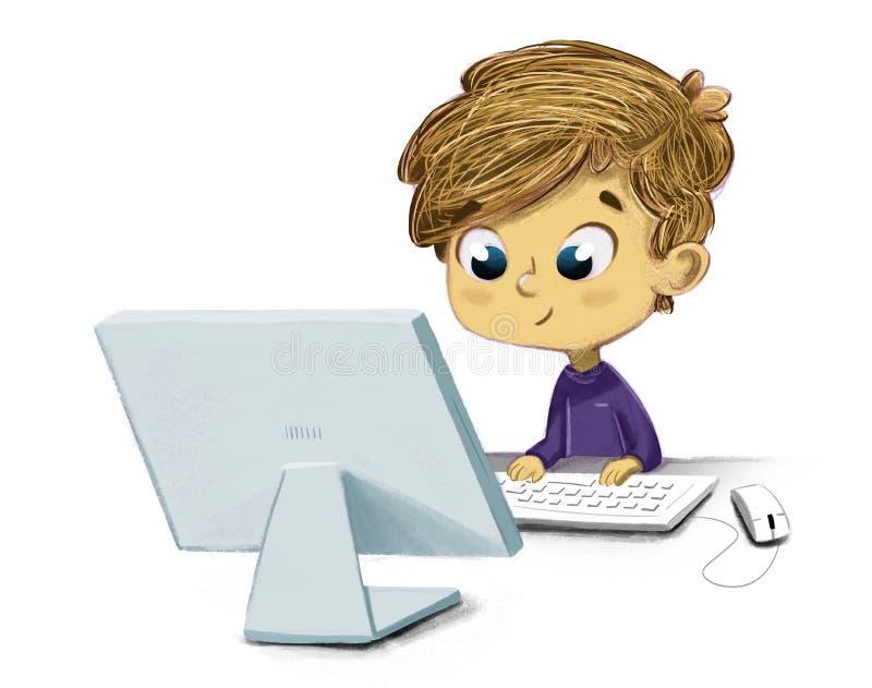 Criança com um computador ilustração royalty free