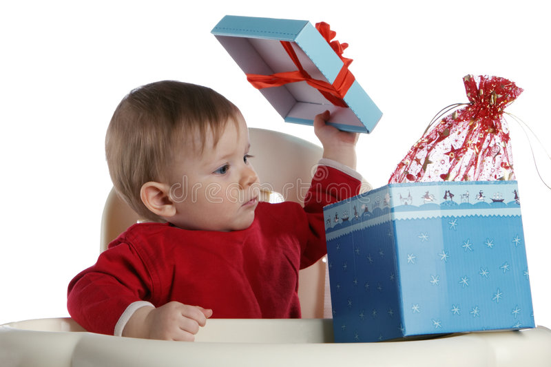 Criança com um presente foto de stock