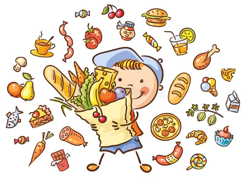 Criança com um saco grande completo do alimento e do grupo isolado do alimento ilustração stock