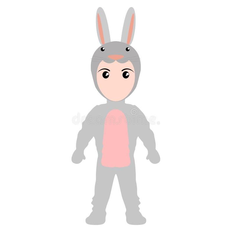 Criança com um traje do coelho Halloween ilustração stock
