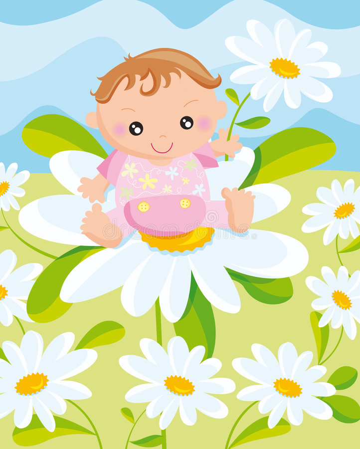 Criança com uma flor ilustração royalty free