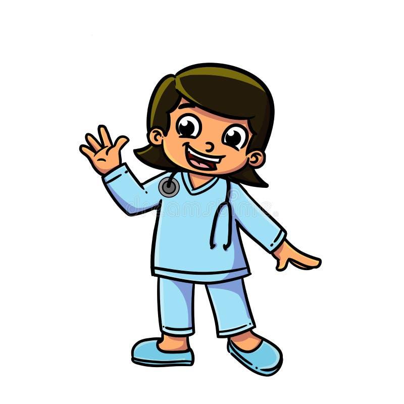 Criança com uniforme da enfermeira ilustração do vetor