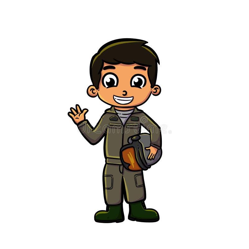 Criança com uniforme piloto ilustração do vetor