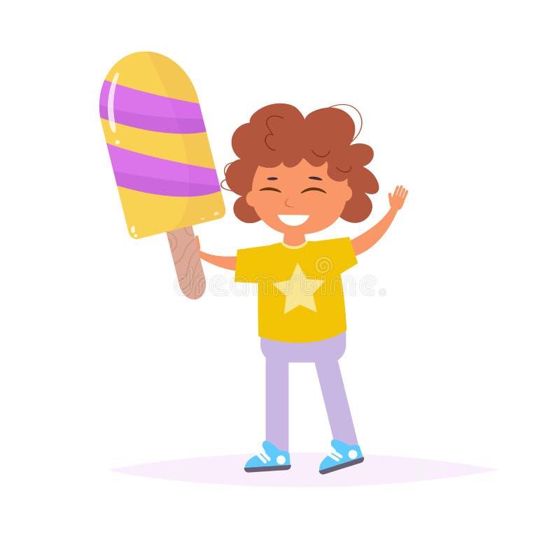 Criança com vetor do gelado ilustração stock