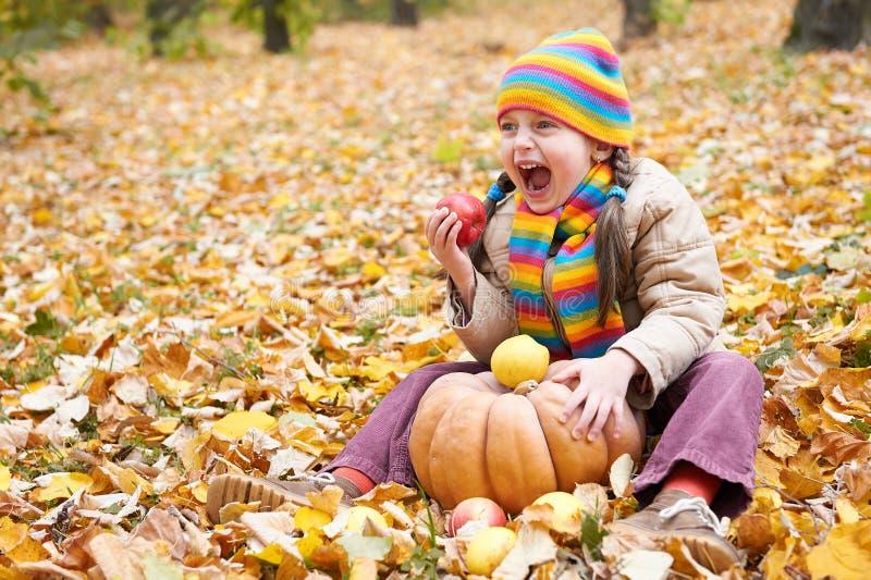 A criança come a maçã e a abóbora na floresta, senta-se nas folhas de outono fundo, outono foto de stock royalty free