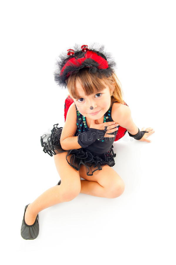 Criança como o Ladybug fotografia de stock royalty free