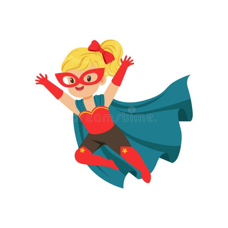 Criança corajoso cômica do voo no traje do super-herói com máscara vermelha e luvas, cabo azul que torna-se no vento Jogo das cri ilustração do vetor