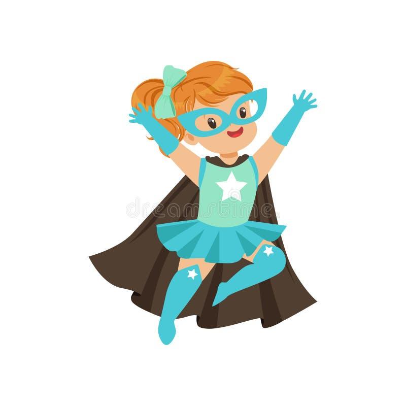 Criança corajoso cômica no traje azul do super-herói com máscara e tornar-se no cabo do preto do vento, voando com mãos acima ilustração stock