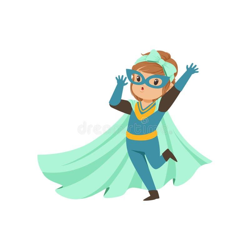 Criança corajoso cômica que está em um pé e que acena sua mão Vestido no traje do super-herói Menina super lisa dos desenhos anim ilustração royalty free