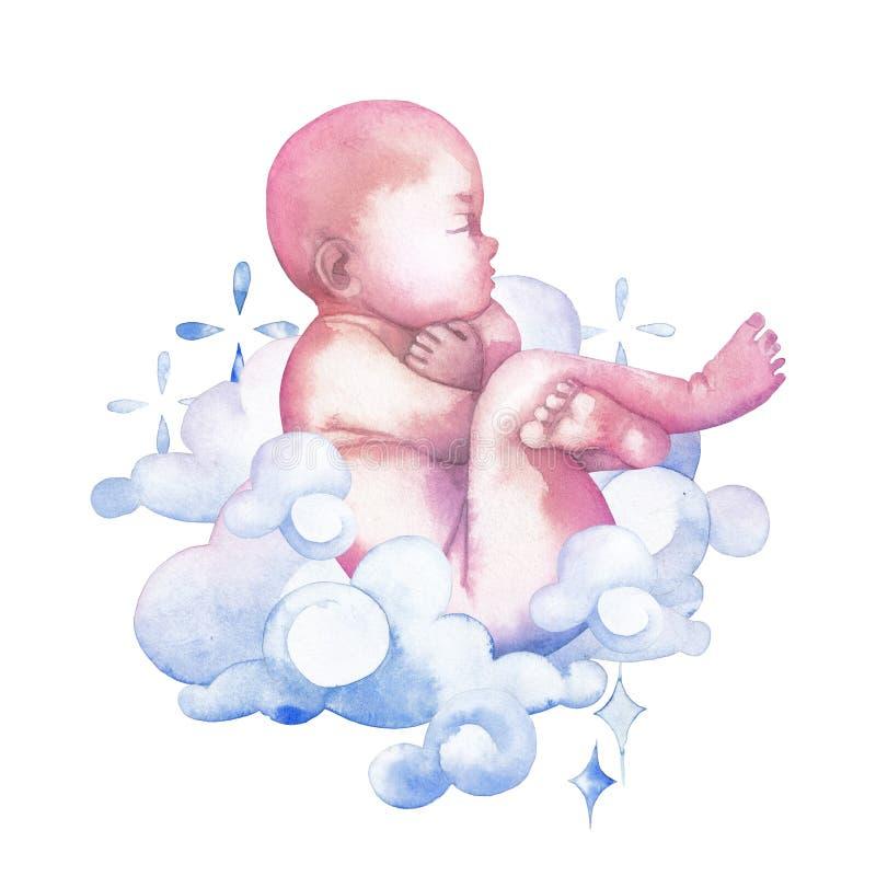 Criança da aquarela cercada por nuvens e por sparkles ilustração royalty free