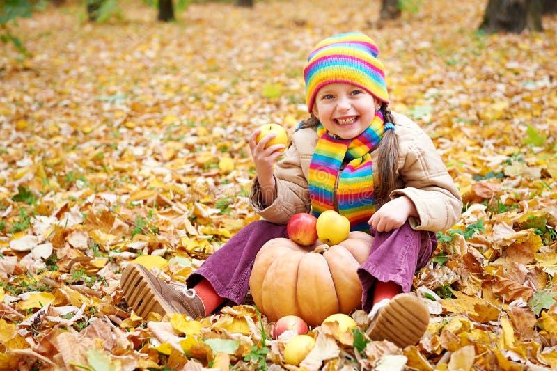 Criança da menina na floresta do outono com abóbora e maçãs, paisagem bonita no outono com folhas amarelas fotografia de stock royalty free