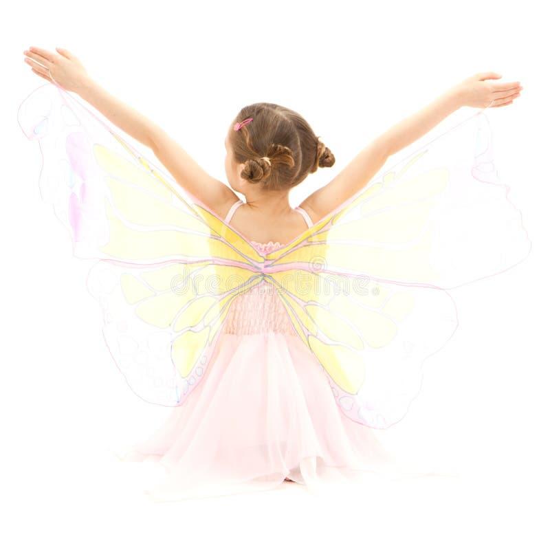 Criança da menina no traje da bailarina da borboleta dos miúdos fotos de stock