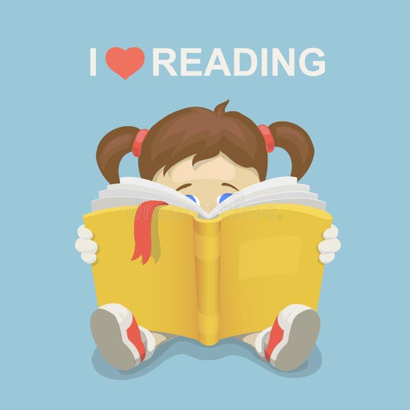 Criança da menina que lê um livro Eu amo ler ilustração stock