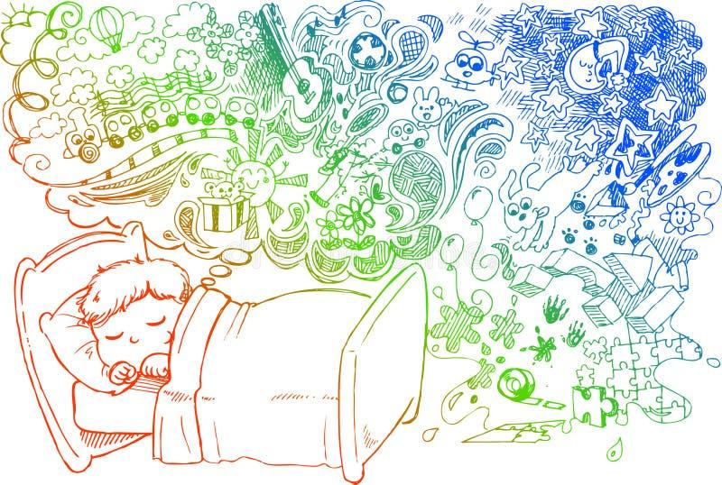 Criança de sonho bonito ilustração stock