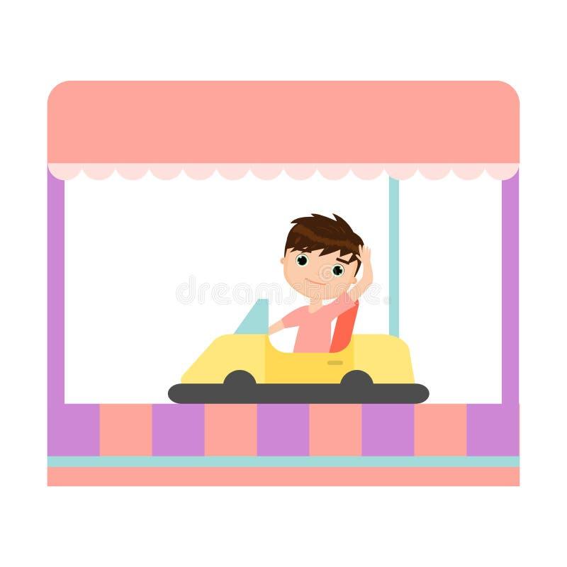 A criança de sorriso feliz está montando um carro de rádio amarelo ilustração stock