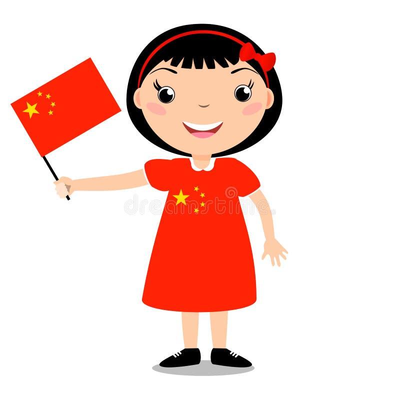 Criança de sorriso, menina, guardando uma bandeira de China ilustração stock