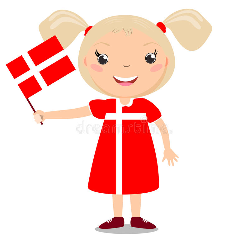 Criança de sorriso, menina, guardando uma bandeira de Dinamarca ilustração do vetor