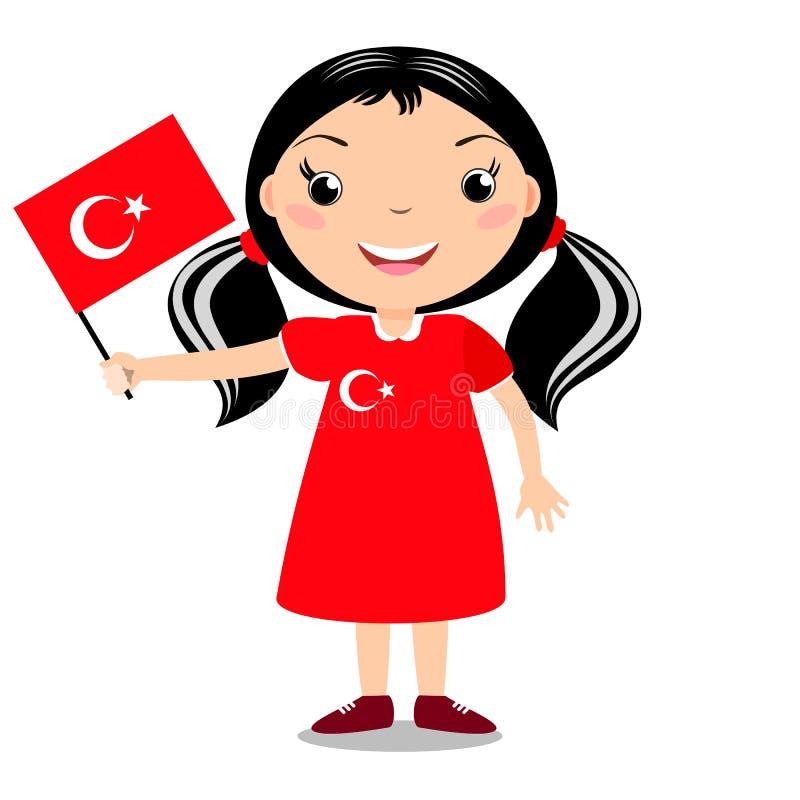 Criança de sorriso, menina, guardando uma bandeira de Turquia ilustração stock