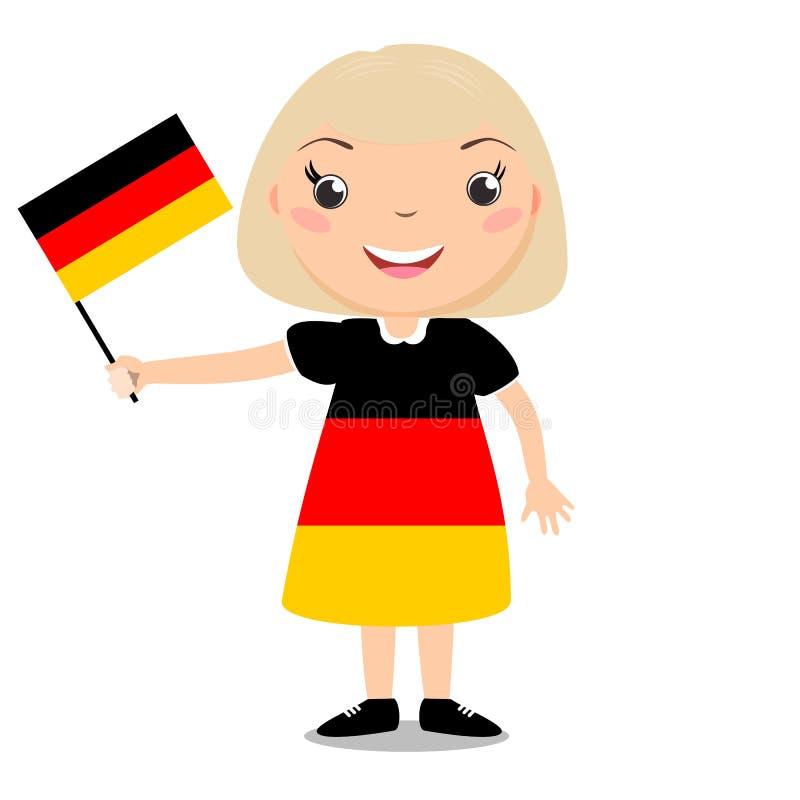 Criança de sorriso, menina, mantendo uma bandeira de Alemanha isolada nos vagabundos brancos ilustração do vetor