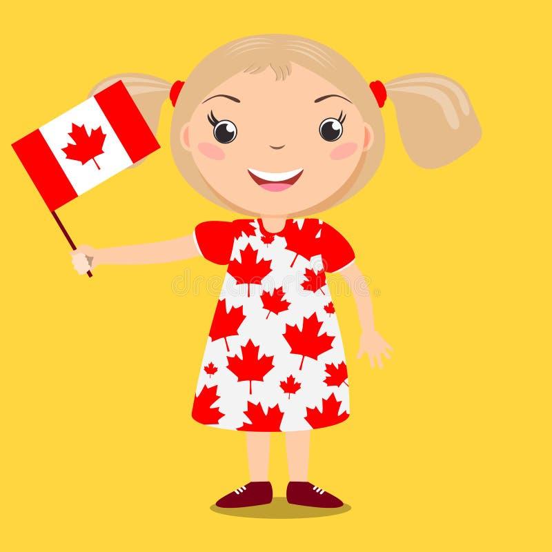 Criança de sorriso, menina, mantendo uma bandeira de Canadá isolada em vagabundos amarelos ilustração do vetor