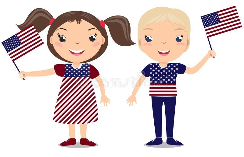 Criança de sorriso, menino, mantendo uma bandeira americana isolada ilustração do vetor