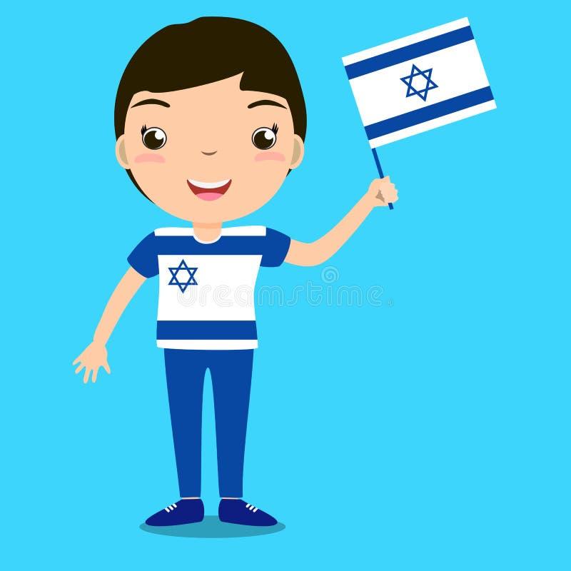 Criança de sorriso, menino, mantendo uma bandeira de Israel isolada no backg azul ilustração stock