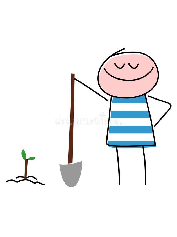 Criança de sorriso que planta a árvore com pá imagens de stock