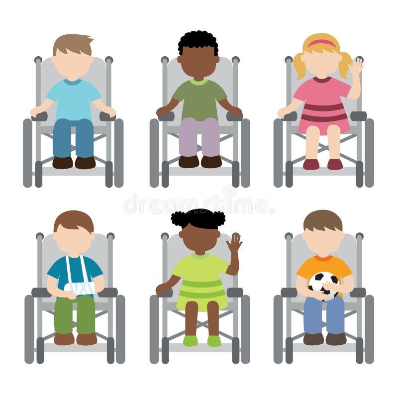 Criança deficiente que senta-se na cadeira de rodas ilustração royalty free