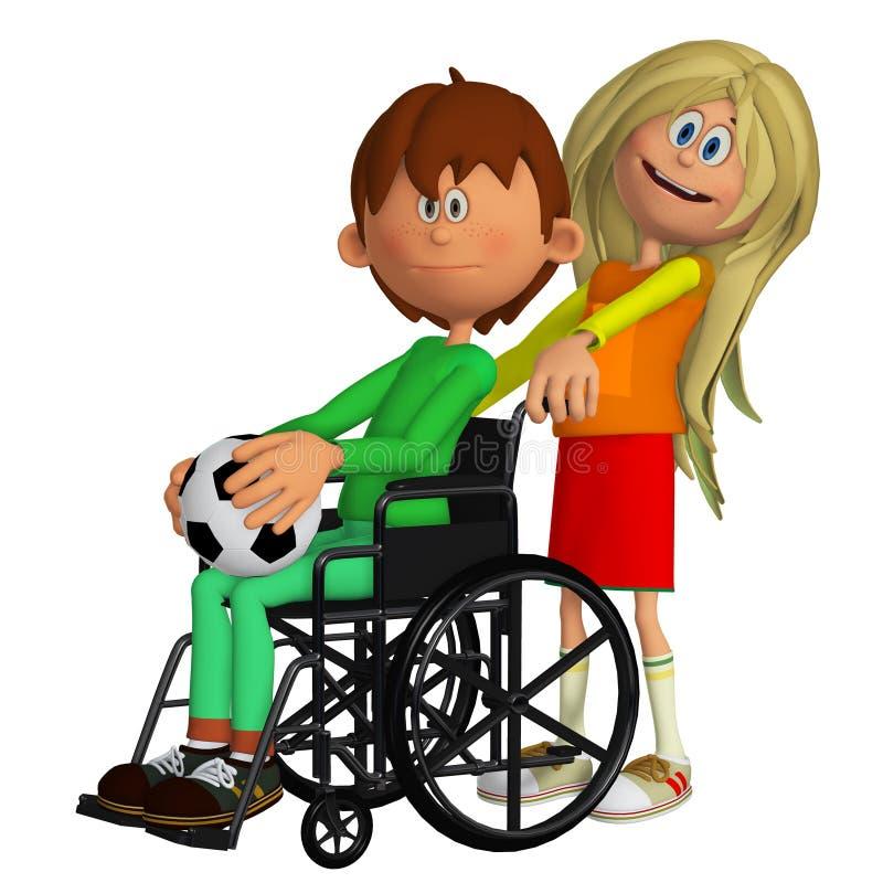 Criança deficiente que senta-se na cadeira de rodas com uma moça ilustração stock