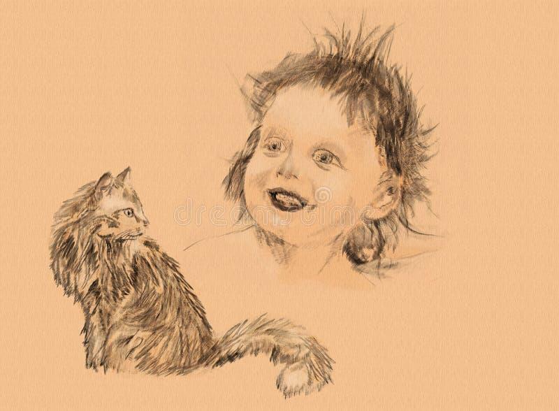 Criança desgrenhado e gato macio, o esboço um lápis ilustração do vetor