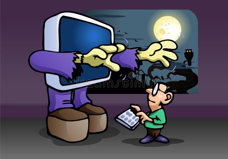 Criança do ataque do computador do monstro ilustração royalty free
