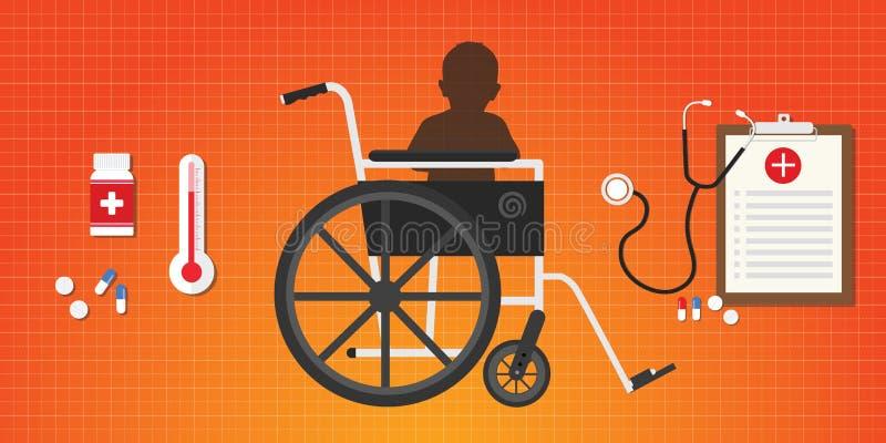 A criança do bebê do conceito da paralisia cerebral senta-se na cadeira de rodas ilustração do vetor