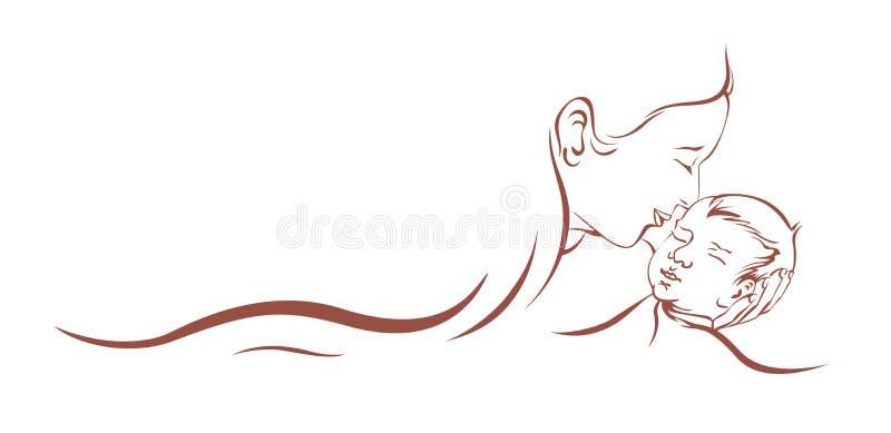 Criança do cuidado da mãe ilustração stock