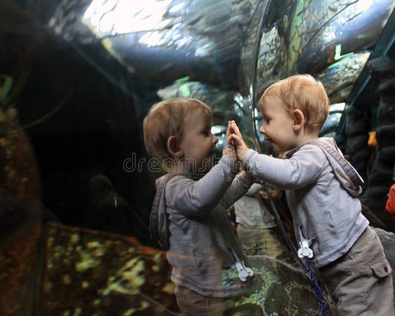 Criança do espelho fotografia de stock royalty free
