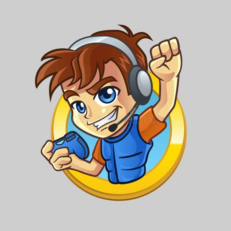 Criança do Gamer com o Joypad no círculo dourado ilustração stock