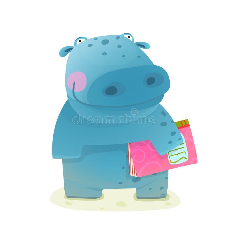 Criança do hipopótamo com leitura do estudo do livro ilustração stock