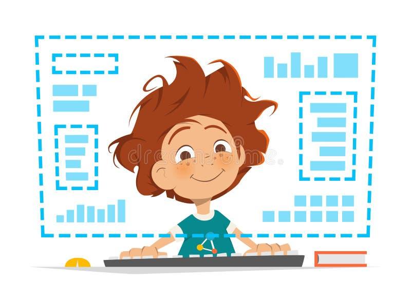 Criança do menino que senta-se na frente da educação em linha do monitor do computador ilustração do vetor