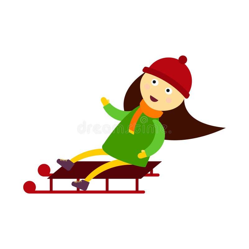 Criança do Natal que joga os jogos do inverno que sledding a menina que joga o caráter tradicional do vetor do feriado do ano nov ilustração stock