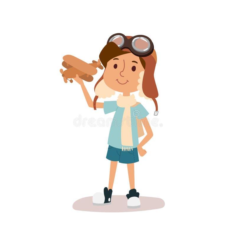 Criança do vetor dos desenhos animados que joga o caráter piloto da aviação ilustração stock