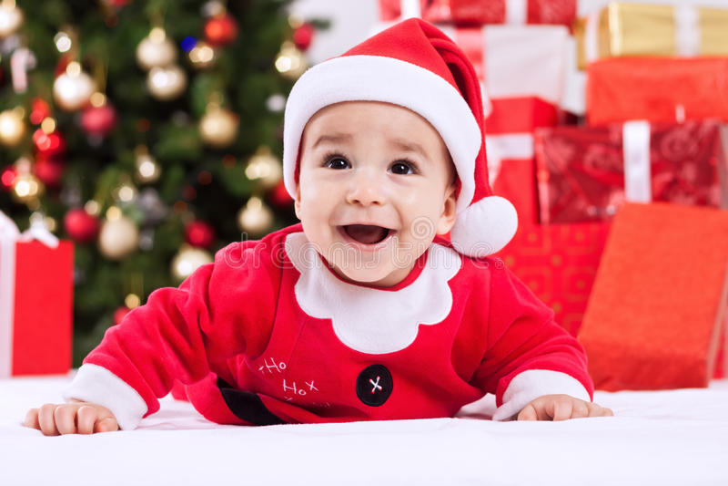 Criança doce no traje do Natal imagem de stock