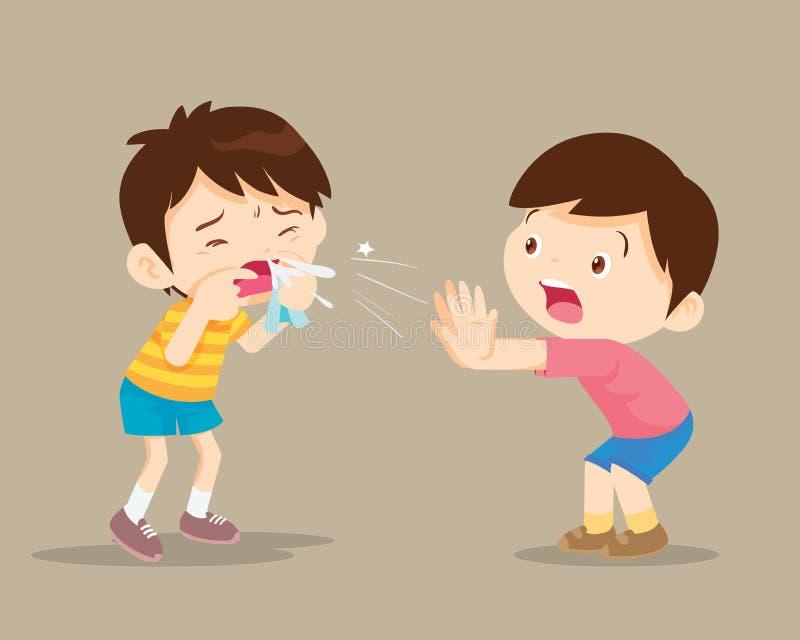 Criança doente que tosse ao amigo ilustração do vetor