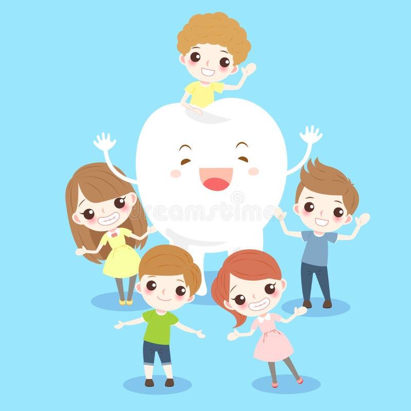 Criança dos desenhos animados com dente ilustração royalty free