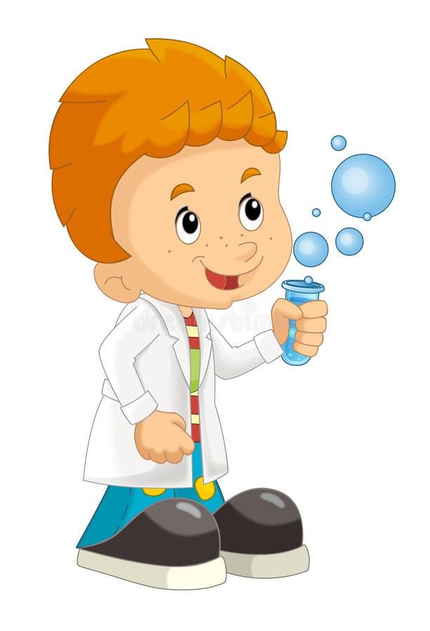 A criança dos desenhos animados que está tendo o divertimento com ciência isolou a ilustração para crianças ilustração do vetor