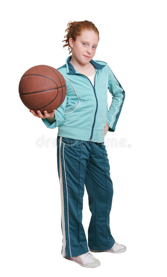 Criança e basquetebol do Redhead fotografia de stock