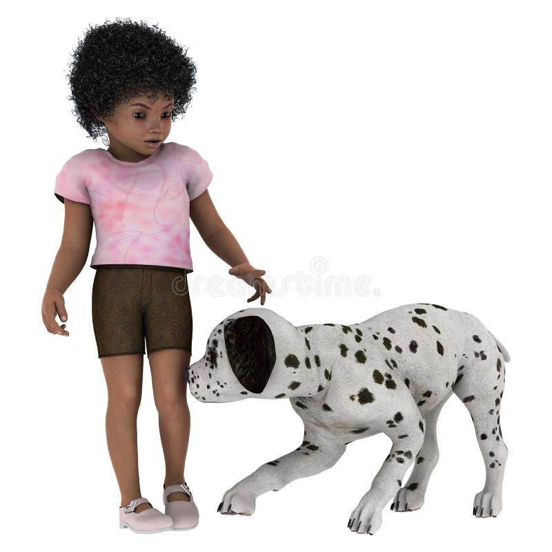 Criança e cão ilustração royalty free