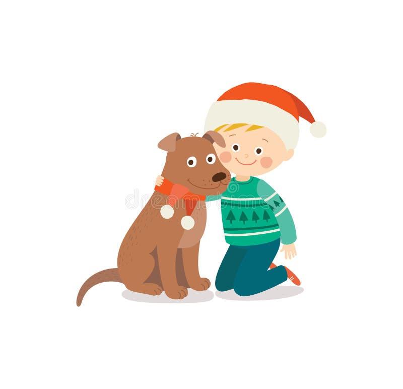 Criança e cão felizes na Noite de Natal Criança e animal de estimação vestidos no chapéu de Santa Criança que tem o divertimento  ilustração royalty free