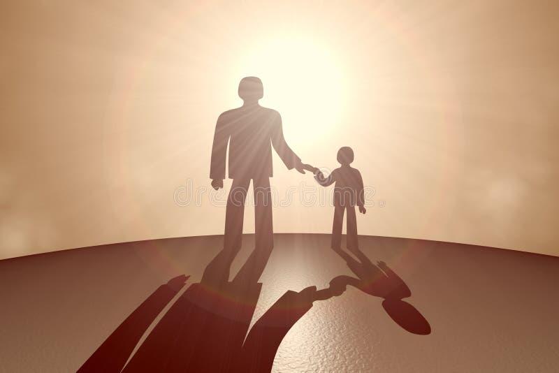 Criança e pai oposto ao sol ilustração stock