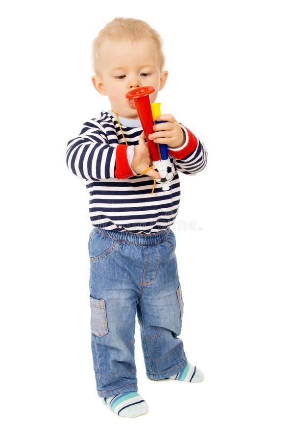 Criança, e sinal acústico do futebol fotografia de stock