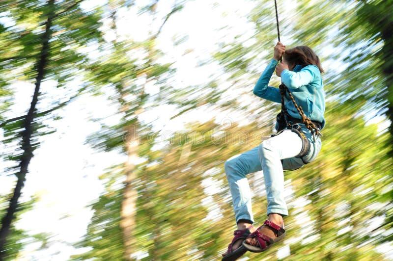 Criança em um parque de escalada da atividade da aventura imagem de stock royalty free